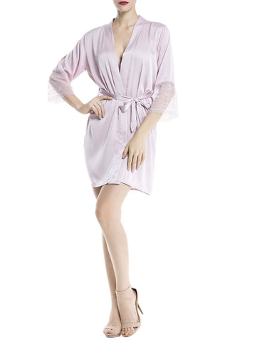 iB-iP Women's Sheer Lace Long Flare Sleeve Bathrobe Nightie Satin Mid-Thigh Robe