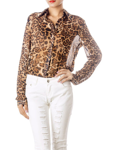 iB-iP Women's Sheer Tulle Leopard Prints Long Sleeves Button Down Spread Shirt