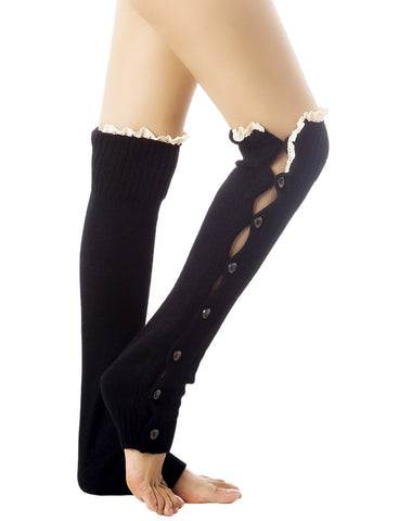iB-iP Women's Knitting Button Down Thermal Eyelet Lace Cuff Mid-Calf Leg Warmers