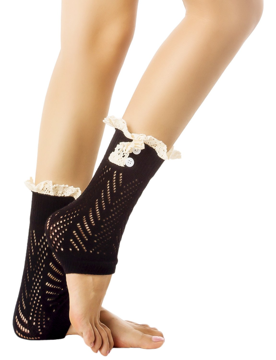 Women's Knitting Buttoned Stylish Warm Eyelet Lace Cuff Ankle Leg Warmers, Size: One Size, Black