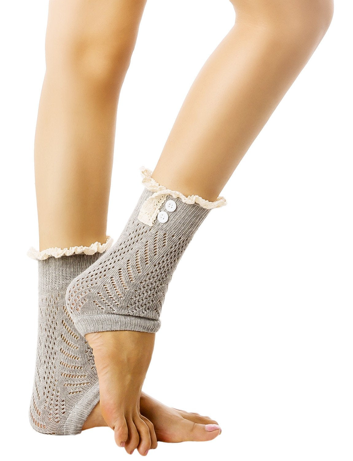 Women's Knitting Buttoned Stylish Warm Eyelet Lace Cuff Ankle Leg Warmers, Size: One Size, Light Coo