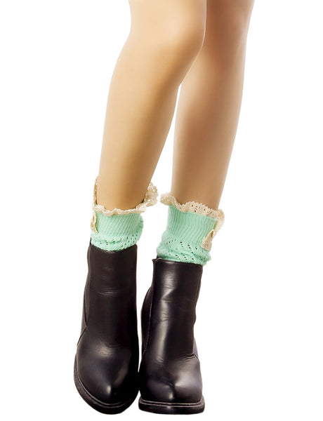 Women's Knitting Buttoned Stylish Warm Eyelet Lace Cuff Ankle Leg Warmers, Size: One Size, Sea Green