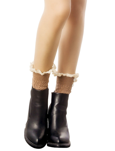 Women's Knitting Buttoned Stylish Warm Eyelet Lace Cuff Ankle Leg Warmers, Size: One Size, Camel