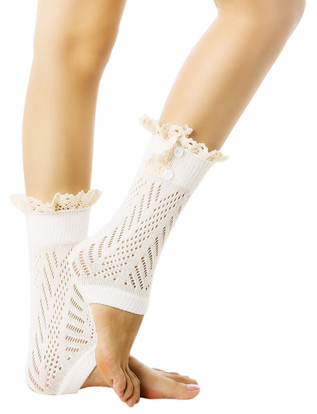 Women's Knitting Buttoned Stylish Warm Eyelet Lace Cuff Ankle Leg Warmers, Size: One Size, Cream