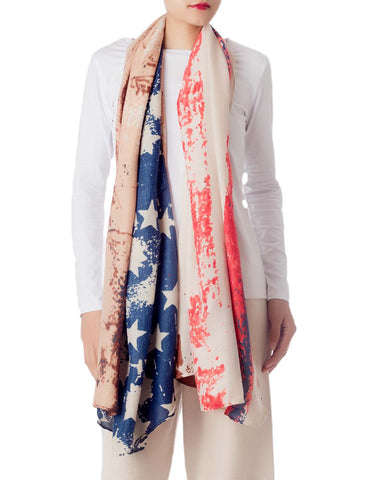 iB-iP Women's Cotton Blended Tie-Dyed American Flag Oversized Long Fashion Scarf