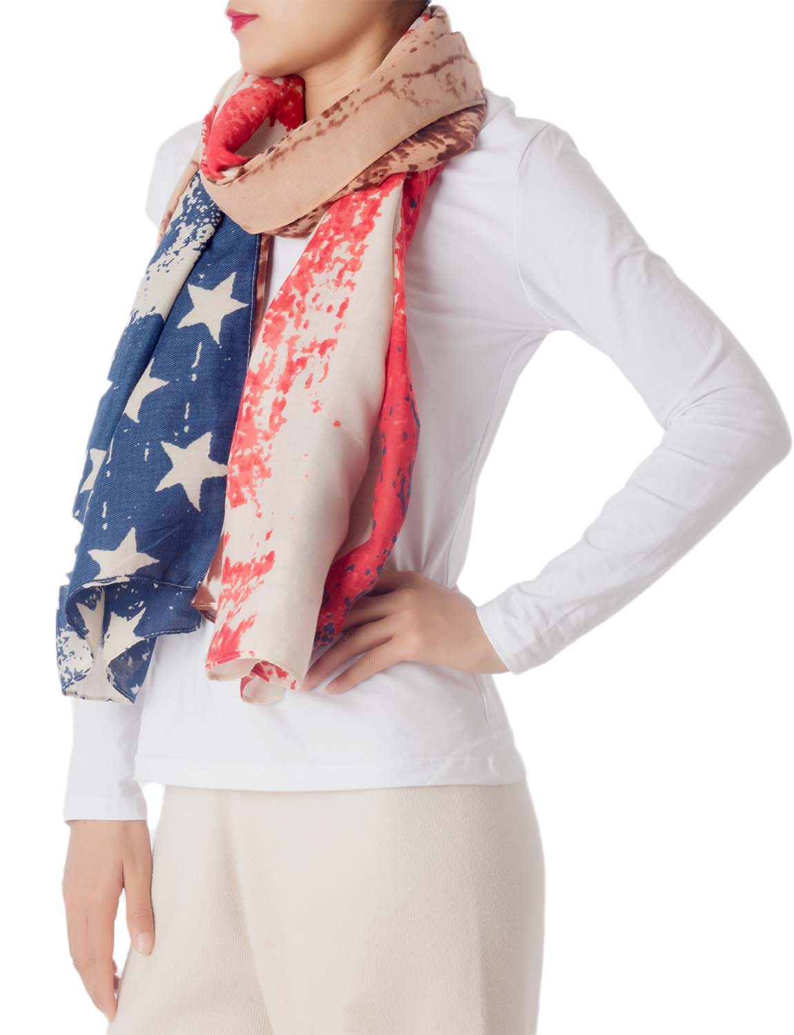 Women's Cotton Blended Tie-Dyed American Flag Oversized Long Fashion Scarf, Size: One Size, Navy