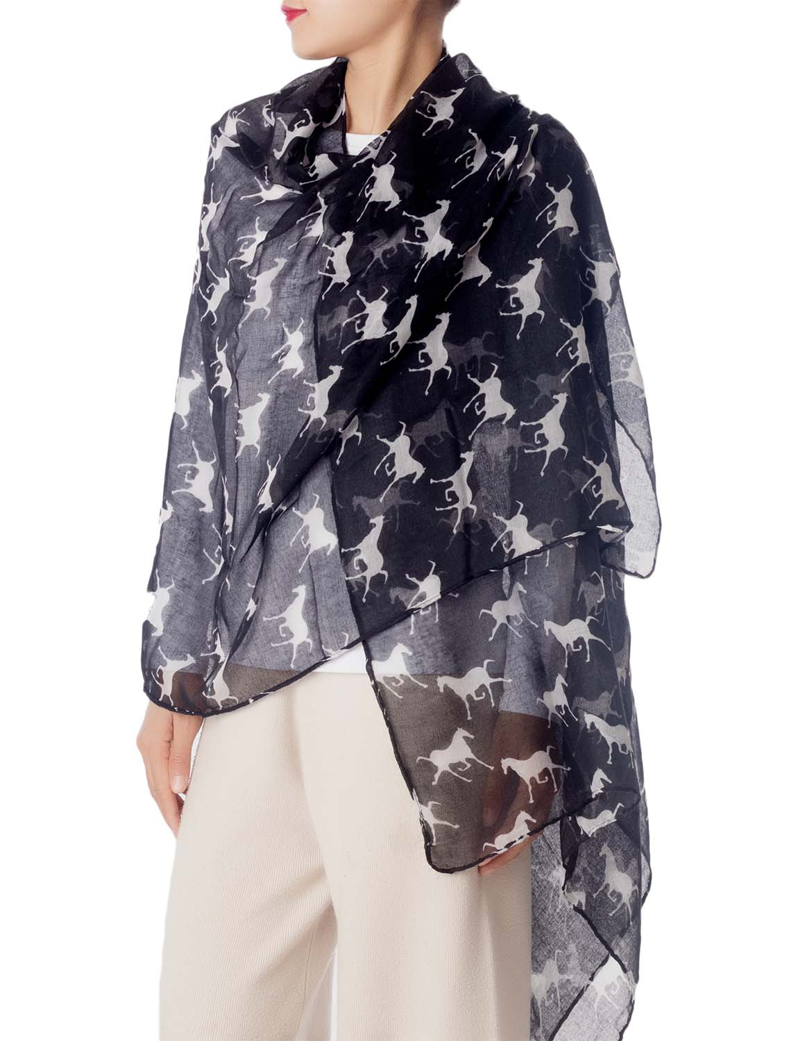 Women's Black Horse Pony Printing Gorgeous Lightweight Long Fashion Scarf, Size: One Size, Black