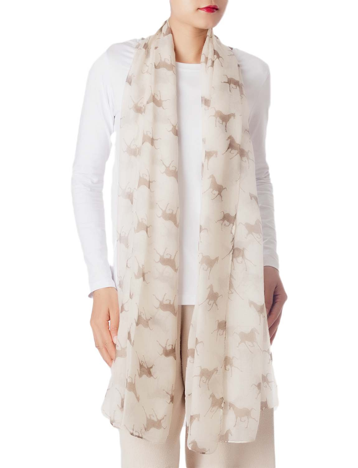 Women's Black Horse Pony Printing Gorgeous Lightweight Long Fashion Scarf, Size: One Size, Cream