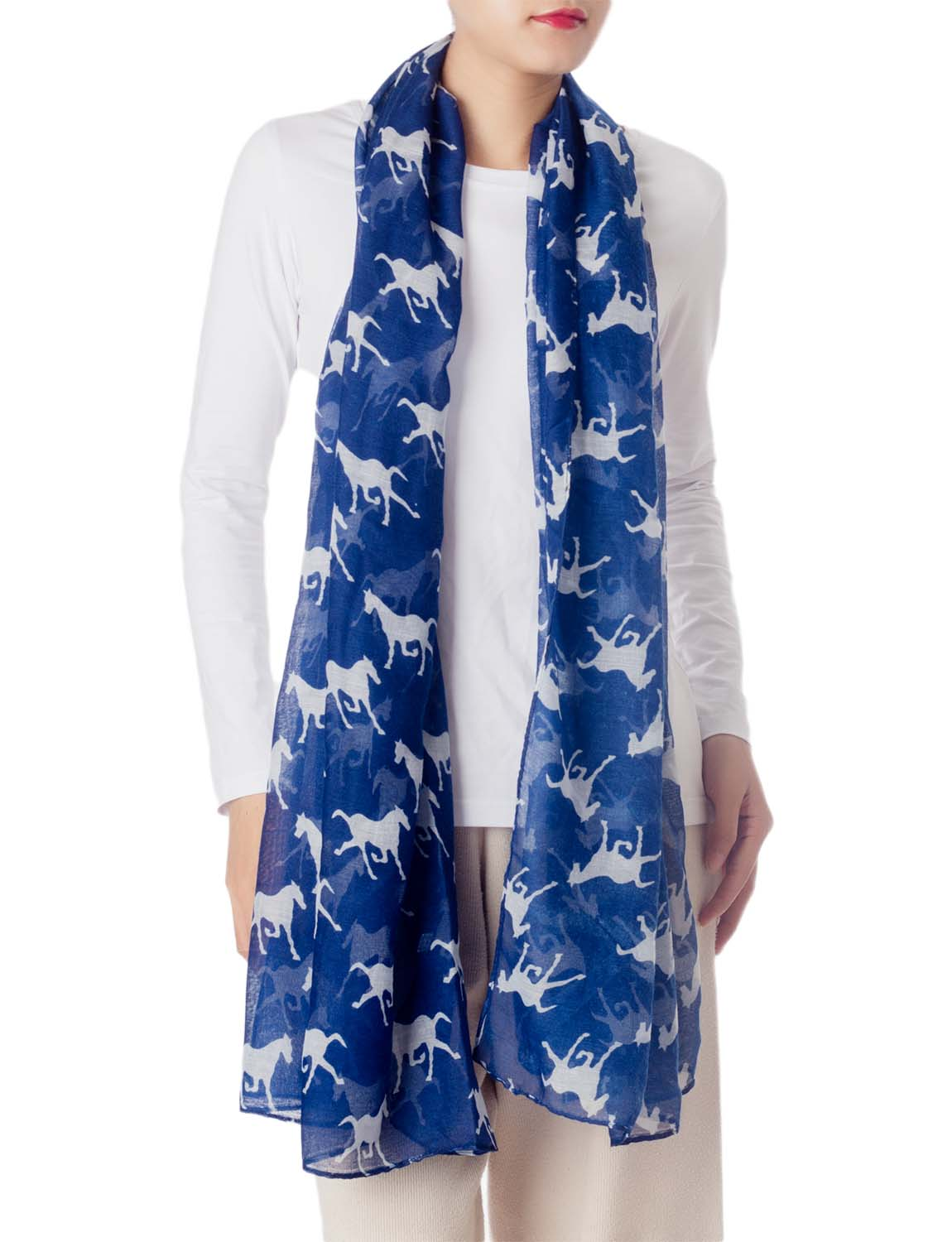 Women's Black Horse Pony Printing Gorgeous Lightweight Long Fashion Scarf, Size: One Size, Navy