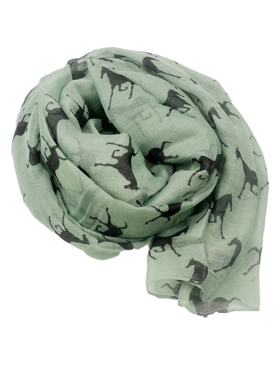 Women's Black Horse Pony Printing Gorgeous Lightweight Long Fashion Scarf, Size: One Size, Sea Green