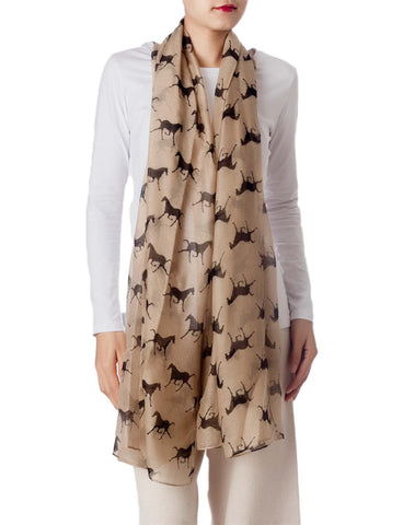 iB-iP Women's Black Horse Pony Printing Gorgeous Lightweight Long Fashion Scarf