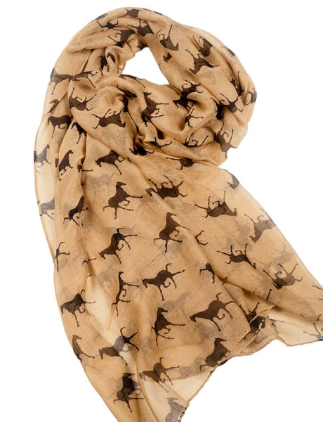 Women's Black Horse Pony Printing Gorgeous Lightweight Long Fashion Scarf, Size: One Size, Beige