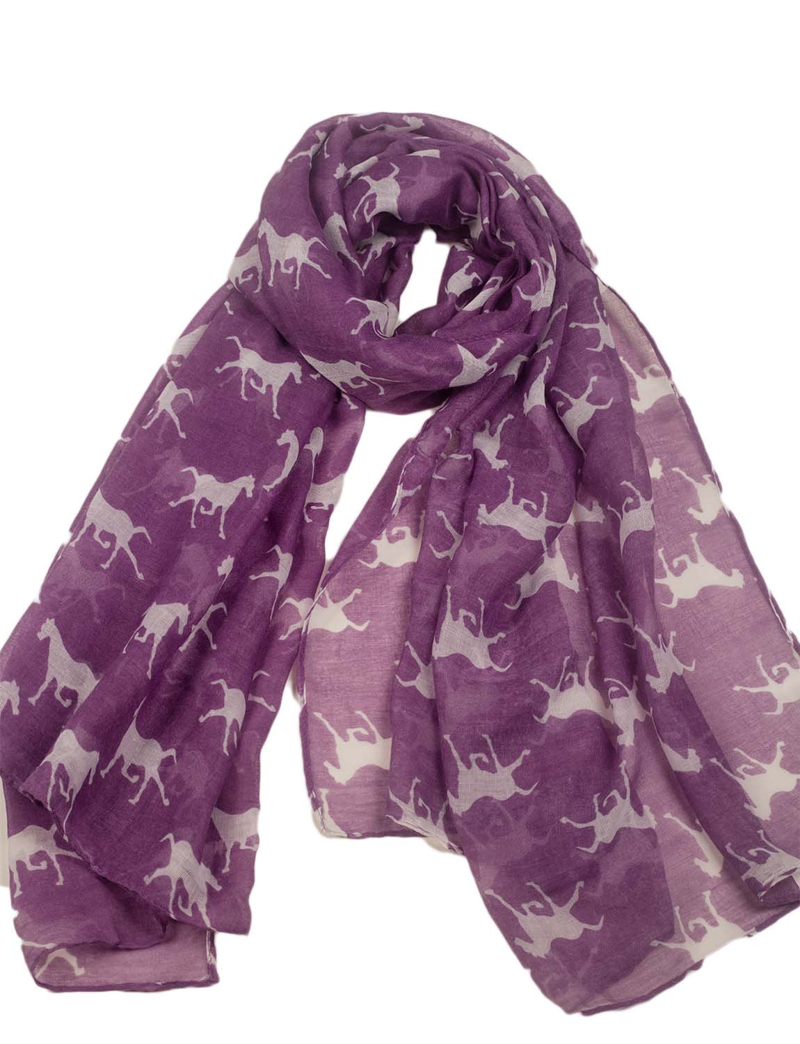 Women's Black Horse Pony Printing Gorgeous Lightweight Long Fashion Scarf, Size: One Size, Plum