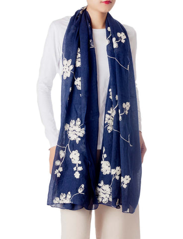 iB-iP Women's Chinese Rose Gorgeous Lightweight Sheer Large Long Fashion Scarf