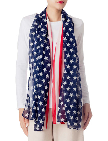 iB-iP Women's American Flag Prints Large Gorgeous Lightweight Long Fashion Scarf