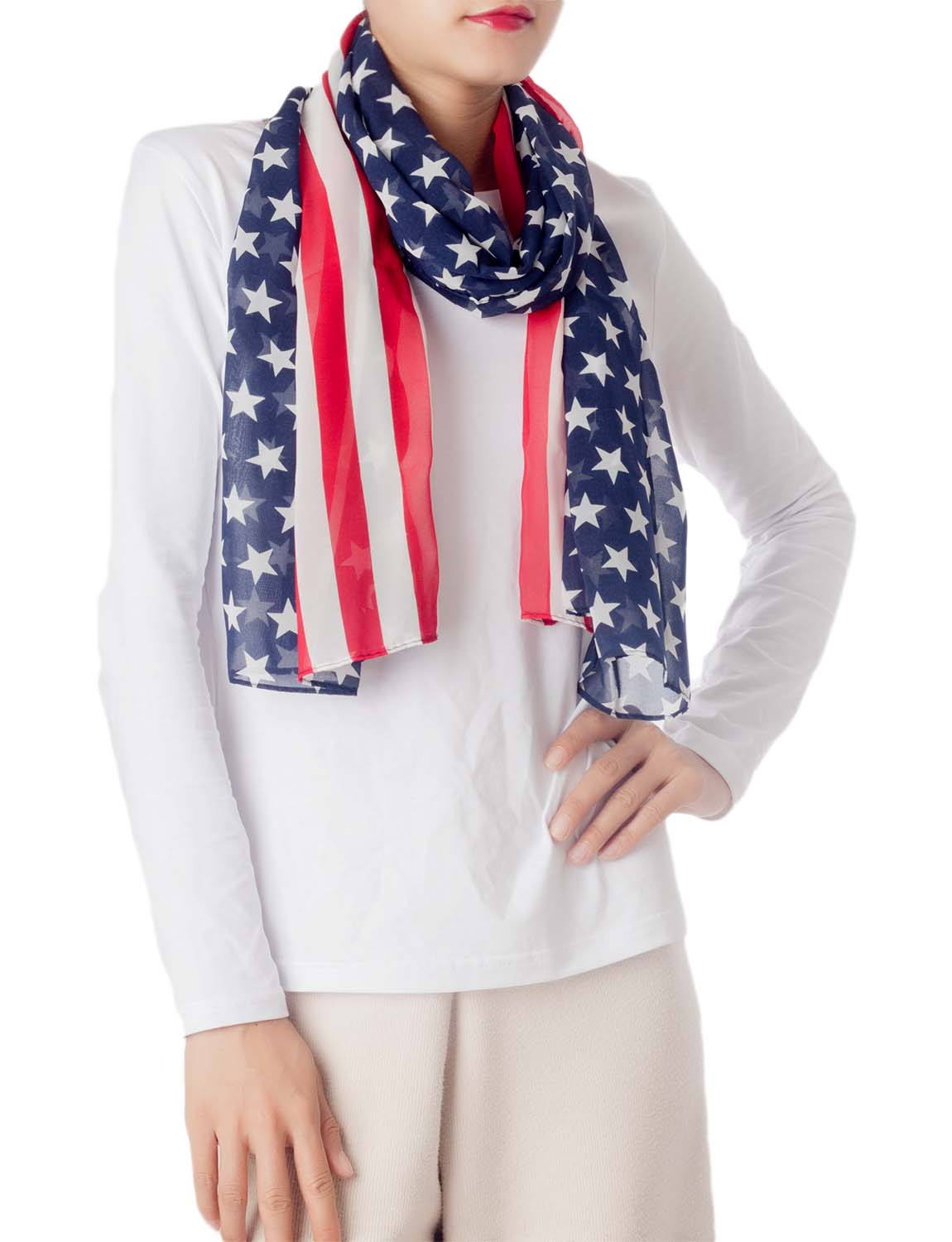 Women's American Flag Prints Large Gorgeous Lightweight Long Fashion Scarf, Size: One Size, Navy
