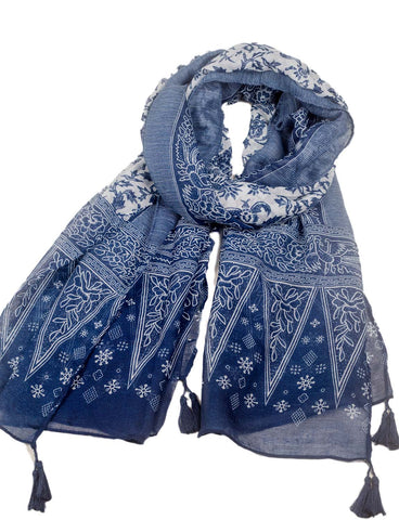 iB-iP Women's Blue-White Porcelain Print Gorgeous Lightweight Long Fashion Scarf