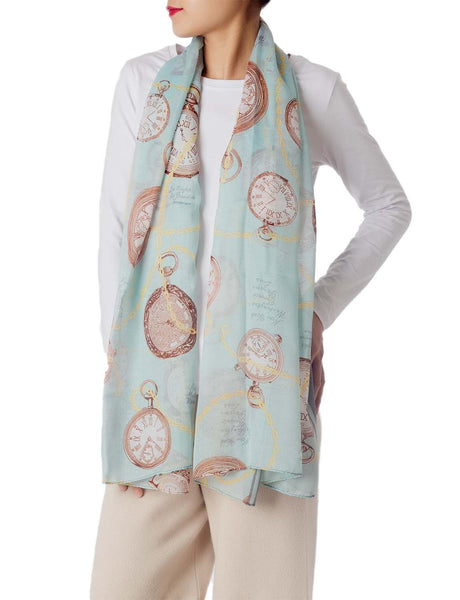 Women's Clock Print Stylish Gorgeous Lightweight Large Long Fashion Scarf, Size: One Size, Light Mos
