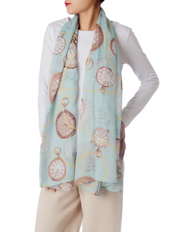 iB-iP Women's Clock Print Stylish Gorgeous Lightweight Large Long Fashion Scarf