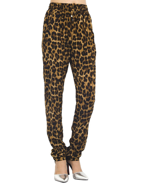 Women's Leopard Prints Drawstring Super Soft Casual Low Rise Relaxed Pants, Size: L, Leopard