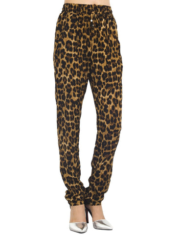 iB-iP Women's Leopard Prints Drawstring Super Soft Casual Low Rise Relaxed Pants
