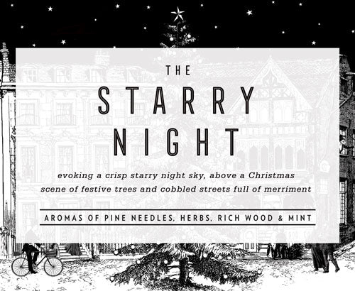 The Starry Night: Evoking a crisp night sky, above a Christmas scene of festive trees and cobbled streets full of merriment.  Aromas of Pine needles, herbs, rich wood, orange and cloves.