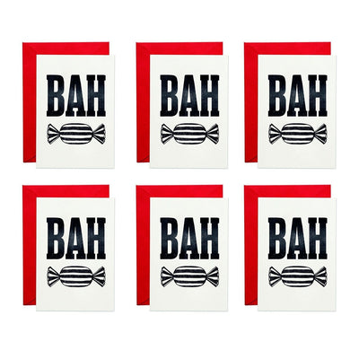 Pack of 6 Bah Humbug Greeting Cards