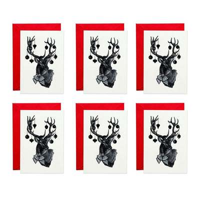 Pack of 6 Christmas Stag Greeting Cards - Chase and Wonder - Proudly Made in Britain