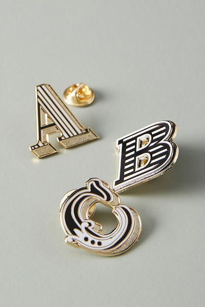 Letter 'M' enamelled badge & greeting card - Chase and Wonder - Proudly Made in Britain