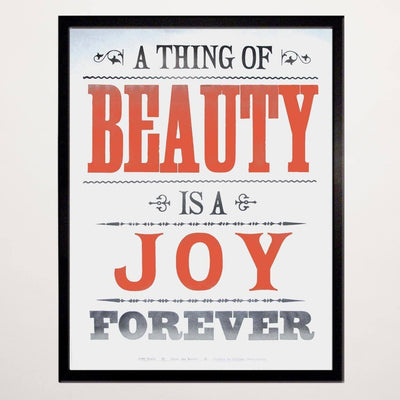 A Thing of Beauty Letterpress Print - Chase and Wonder - Proudly Made in Britain