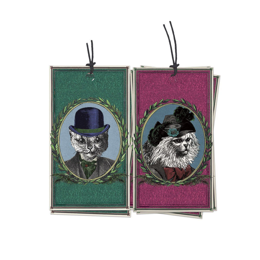 Pack of 10 Aristocratic Cats Gift Tags - Chase and Wonder - Proudly Made in Britain