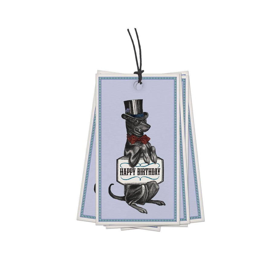 Pack of 10 Happy Birthday Hound Gift Tag - Chase and Wonder - Proudly Made in Britain
