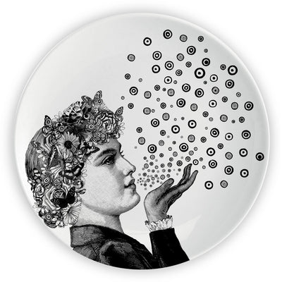 "Lady Blowing Kisses x 10 CORSO COMO - 10"" Plate - Chase and Wonder - Proudly Made in Britain"