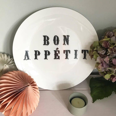 "Bon Appetit Fine China 8"" Plate - Chase and Wonder - Proudly Made in Britain"