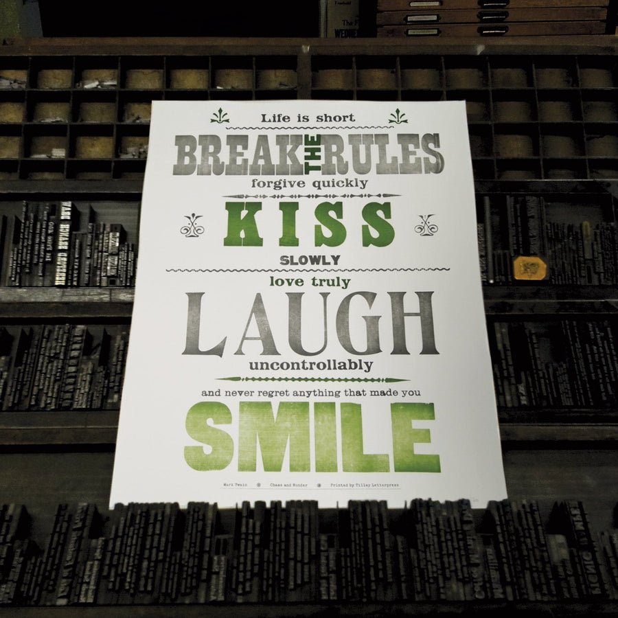 Break the Rules Letterpress Print - Chase and Wonder - Proudly Made in Britain
