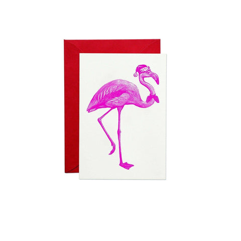 Christmas Flamingo Greeting Card