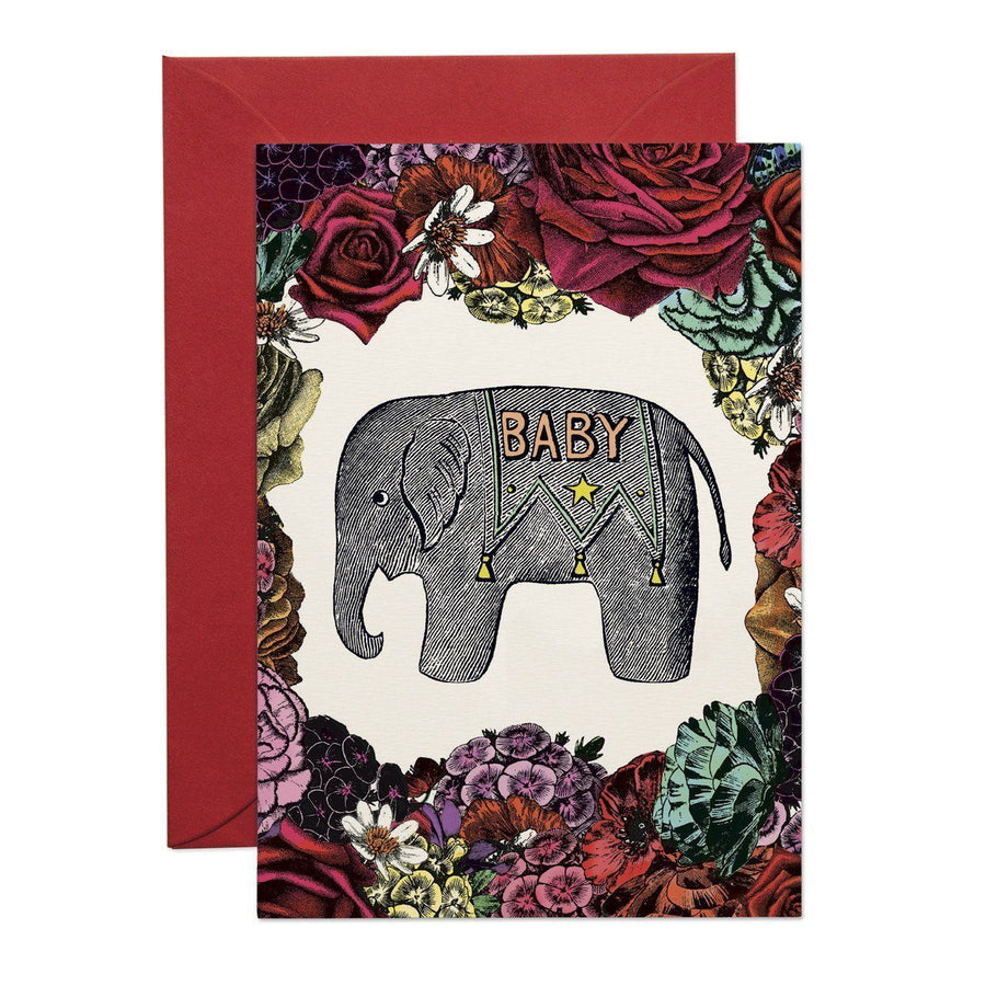 Baby Elephant Flower Greeting Card - Chase and Wonder - Proudly Made in Britain