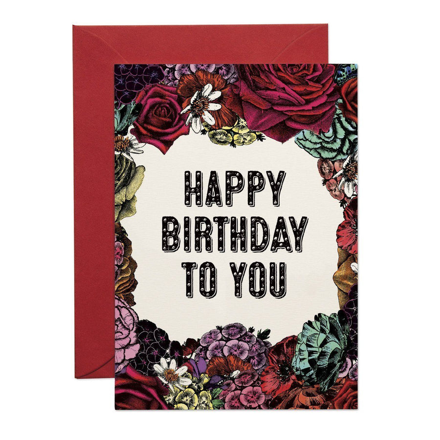 Happy Birthday Floral Greeting Card - Chase and Wonder - Proudly Made in Britain
