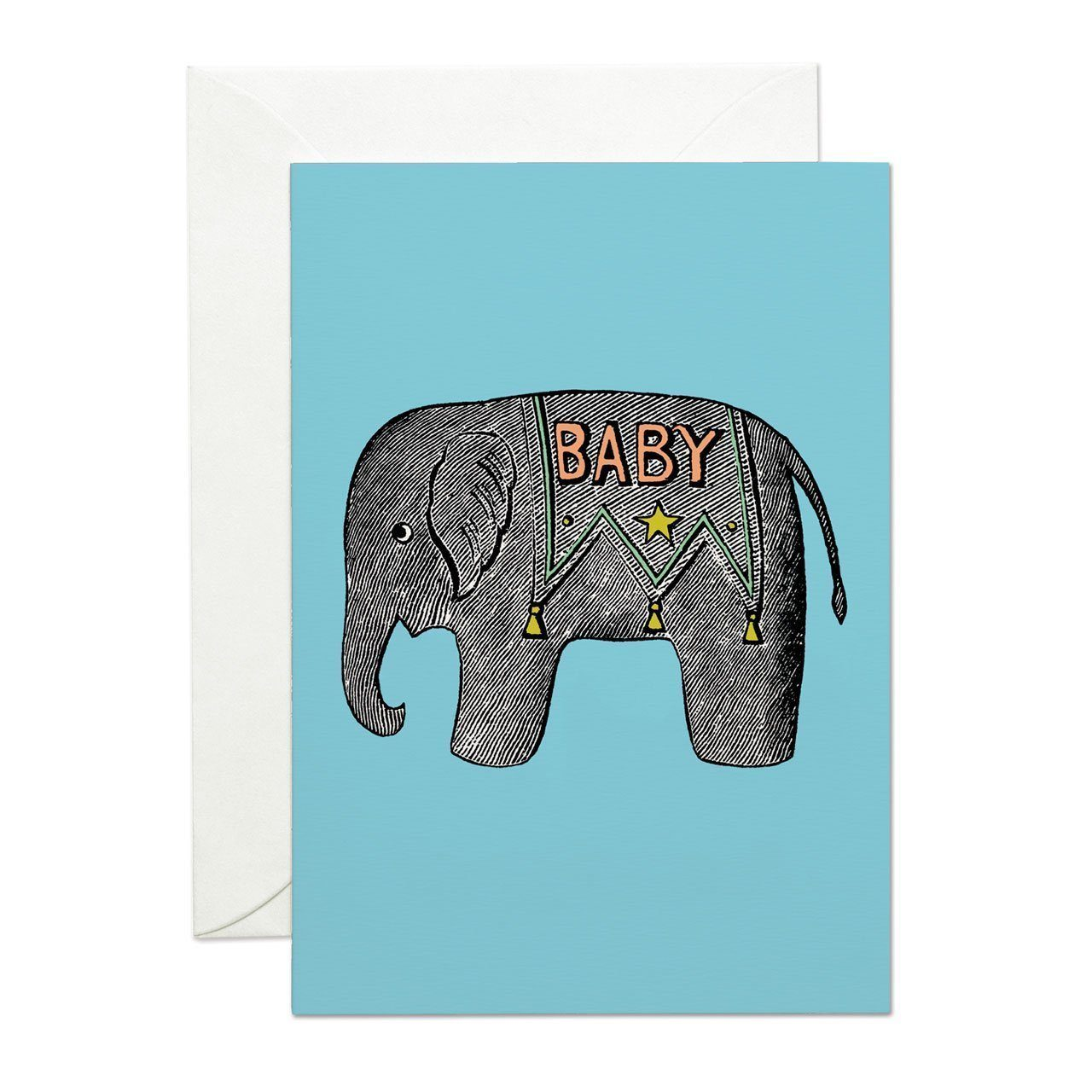 Baby Elephant Blue Greeting Card - Chase and Wonder - Proudly Made in Britain