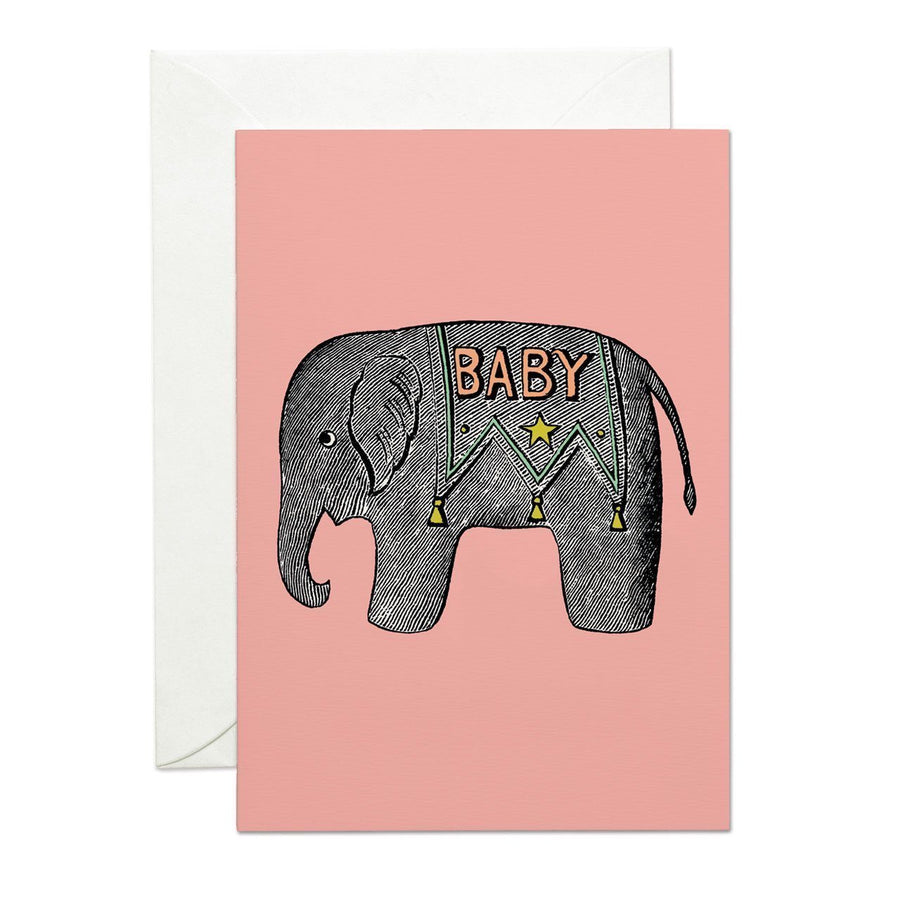 Baby Elephant Pink Greeting Card - Chase and Wonder - Proudly Made in Britain