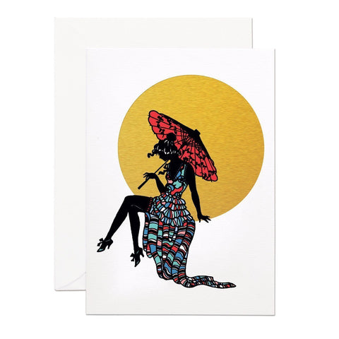 Lady In Moon Greeting Card