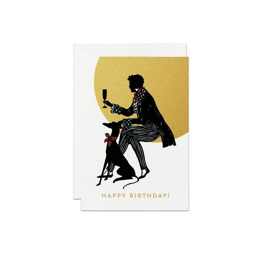 Man With Dog Silhouette Greeting Card - Chase and Wonder - Proudly Made in Britain