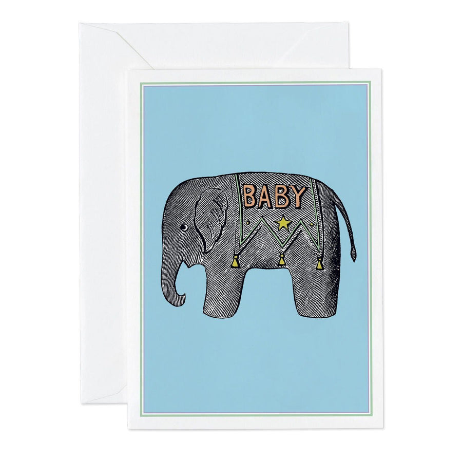 Baby Elephant Blue Small Greeting Card - Chase and Wonder - Proudly Made in Britain