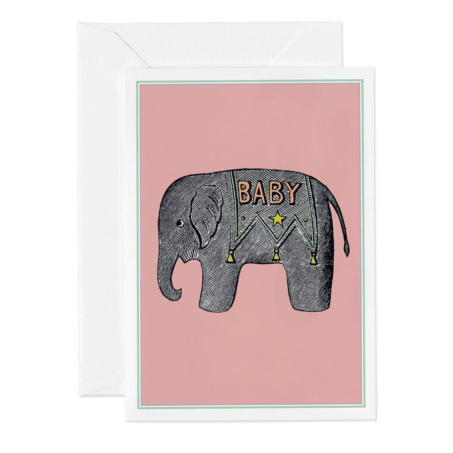 Baby Elephant Pink Small Greeting Card - Chase and Wonder - Proudly Made in Britain