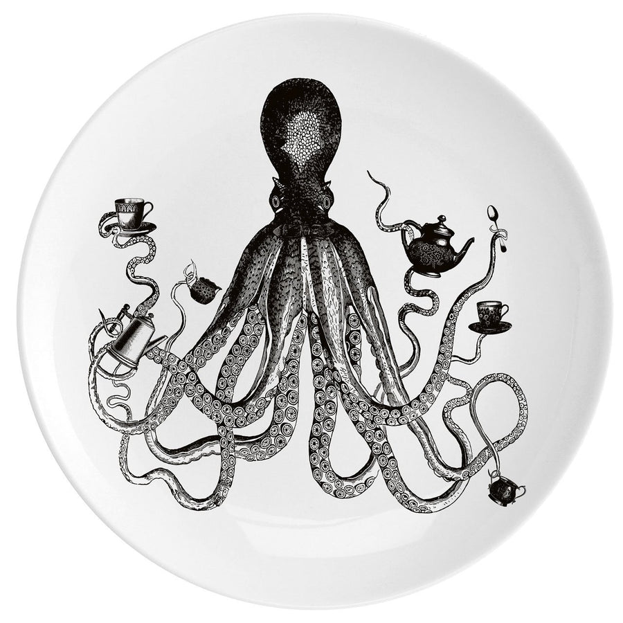 "Octopus For Tea Fine China 10"" Plate - Chase and Wonder - Proudly Made in Britain"