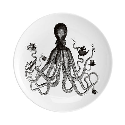 "Octopus for Tea Fine China 8"" Plate - Chase and Wonder - Proudly Made in Britain"