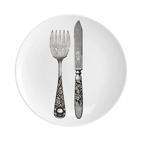 "Knife and Fork Fine China 8"" Plate"