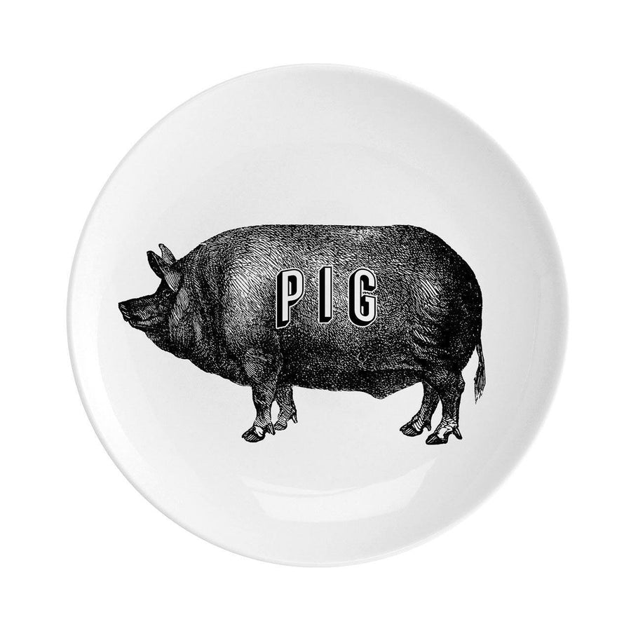"Pig Fine China 8"" Plate - Chase and Wonder - Proudly Made in Britain"