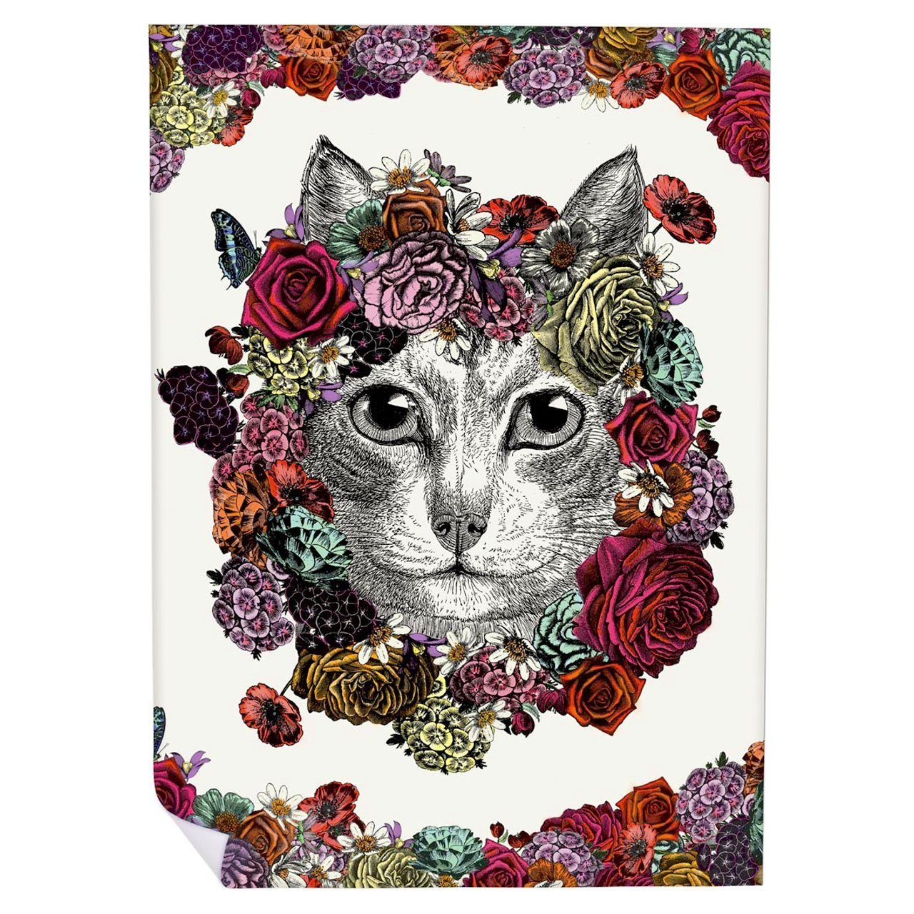 Flower Cat Wrapping Paper - Chase and Wonder - Proudly Made in Britain