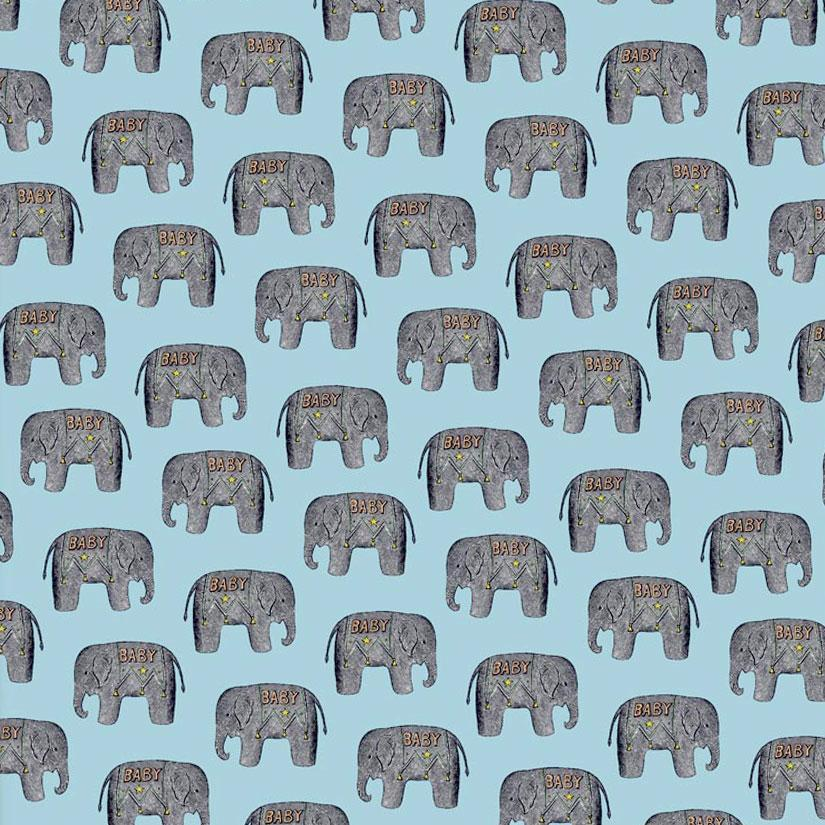 Baby Elephant (Blue) Wrapping Paper - Chase and Wonder - Proudly Made in Britain